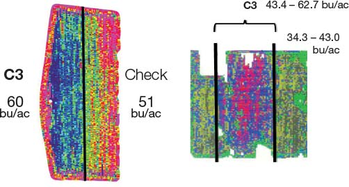 Two comparison yield maps of C3 and Check